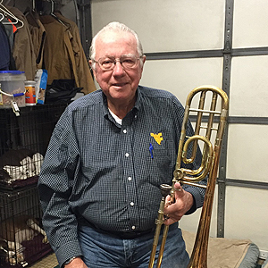 John Gourker with his trombone